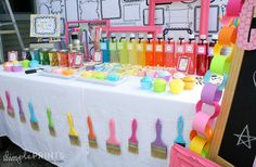 Art Party Planning Ideas Supplies Idea Decorations Birthday Girly Art Party With So Many Cute Ideas via Kara's Party Ideas Artist Birthday Party, Birthday Painting, 10th Birthday Parties, Birthday Party Themes, Birthday Ideas, Kids Art Party, Craft Party, Painting Party Kids, Kunst Party