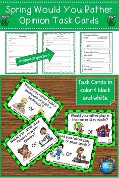 Opinion would you rather task cards with a spring theme. Great for speaking and writing practice. Pictures will help ELLs with vocabulary. #taskcards #opinionwriting #writingprompts #esl #esol #speaking #spring #springishere #teachersfollowteachers #teacherspayteachers #tpt #language