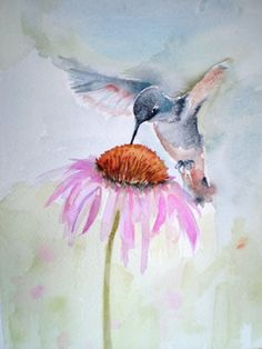 Hummingbird with Echinacea- A little guy offed himself while I was having coffee the other morning. A print of this might be perfect next to her skull.  Artist - Barbara Joan