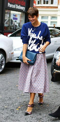 Literal statement tee. That gorgeous skirt could be worked into a much simpler outfit.