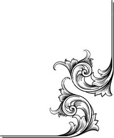 A true hand engraving scrollwork designed for page corners. Highly detailed with fine shading and can be easily modified with the enclosed EPS and Illustrator files. Gravure Metal, Scroll Pattern, Carving Designs, Leather Pattern, Motif Floral, Scroll Design, Border Design, Hand Engraving, Free Vector Art