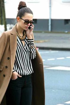 stripes and camel coat
