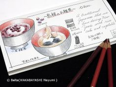 2014_01_01_ozouni_01_s Happy new year! Ozouni(Zouni) is Japanese traditional soup and rice cake.  for this drawing I used: Faber castell polychromos Karisma color Midori Traveler's notebook  © Belta(WAKABAYASHI Mayumi )