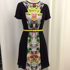 """Prabal Gurung for Target Floral Dress Short sleeve black dress with floral panel down the center and back, lined and 100% polyester. Back zipper. Worn once and absolutely no signs of wear or damage. (Belt on model not included.) Shoulder to skirt hem measures 35"""". Prabal Gurung for Target Dresses"""