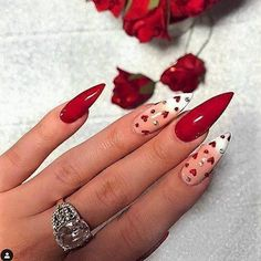 Check these out blue nail art! Love Nails, Pretty Nails, My Nails, Valentine's Day Nail Designs, Simple Nail Designs, Stiletto Nail Art, Stiletto Nail Designs, Valentine Nail Art, Nails For Valentines Day