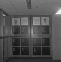Black and white photograph of the entrance to the University of Scranton Weinberg Memorial Library