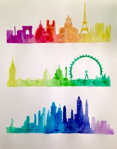 Paris, London, and New York City skyline watercolor silhouette