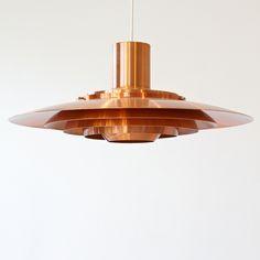 Pendant lamp by Preben Fabricius and Jørgen Kastholm     - Mid Century Danish Design   - copper-  1964