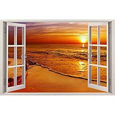 MALDIVES BEACH 3D Window View Decal WALL STICKER Home Decor Art Mural Exotic 03