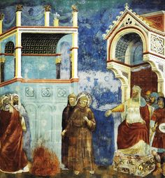 GIOTTO. The Trial by fire, St. Francis offers to walk through fire, to convert the Sultan of Egypt. 1297.