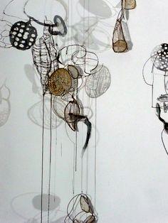 Contemporary Mixed Media - Lanterns-detail (Original Art from Rickie Wolfe) Abstract Sculpture, Sculpture Art, Wire Sculptures, Shadow Painting, Atelier D Art, Art Du Fil, Organic Art, Textile Artists, Wire Art