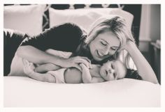 Jordan Burch Photography. Home style newborn shoots. Mom and baby on master bed. Love!