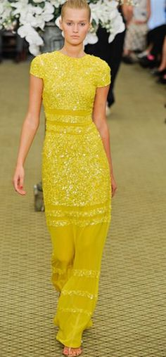 bill blass lovely yellow maxi dress
