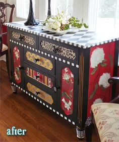 Repurpose a cabinet with a mix of matching prints to look like patchwork.