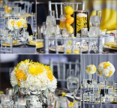 Merry Me Events, Century Center, Wedding Reception, South Bend, IN (near Notre Dame), yellow, silver