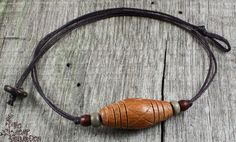 Mens Natural Wood Beaded Cord Necklace by thehempgarden on Etsy, $18.50