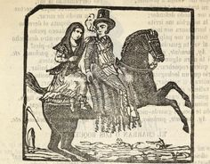 Xilografía en cabecera de una mujer y un hombre montados en un caballo, él lleva patillas largas y un cigarro en la boca.