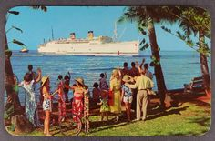 Honolulu Harbor SS Lurline Ship Arrival Celebration Hawaii Matson Lines Postcard