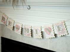 Be Mine Postage Stamp Banner Pink Yellow and Cream Valentines Decoration Shabby Chic.