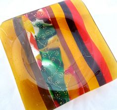 Fused Glass Wine Bottle Coaster - Autumn Whisper