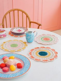 Crochet mats. Super cute for a little tea party.