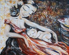 mother and child red dress sleep art print  Here & by kmberggren, $17.00