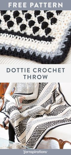 Free Dottie Throw crochet pattern using Red Heart Soft yarn. Ideal for contemporary and more traditional déco… in 2020 (With images) Crochet Crafts, Crochet Yarn, Crochet Stitches, Free Crochet, Crochet Projects, Crochet Quilt, Crochet Afghans, Afghan Crochet Patterns, Crochet Blankets