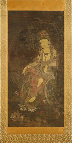 Water-Moon Avalokiteshvara  Unidentified Artist     Period:      Goryeo dynasty (918–1392)  Date:      first half of the 14th century  Culture:      Korea  Medium:      Hanging scroll; ink and color on silk  Dimensions:      Image: 45 1/16 x 21 7/8 in. (114.5 x 55.6 cm) Overall with knobs: 79 3/8 x 30 1/8 in. (201.6 x 76.5 cm) Overall with mounting: 79 3/8 x 28 in. (201.6 x 71.1 cm)  Classification:      Painting  Credit Line:      Charles Stewart Smith Collection, Gift of Mrs. Charles…