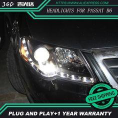 548.00$  Buy here - http://ali87q.worldwells.pw/go.php?t=32792660388 - Car Styling Head Lamp for VW passat b6 2007-2011 Headlights LED Headlight DRL H7 D2H Hid Option Angel Eye Bi Xenon Beam