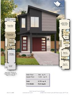 Your eyes aren't deceiving you, this skinny house is only wide. With two floors and over 2000 square feet, you might wonder where everything goes! House Layout Plans, Modern House Plans, House Layouts, House Plans Mansion, House Roof, My House, Large Homes, Plan Design, Second Floor