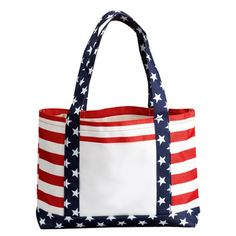 American Flag Red White Stripes Beach Lined  Zippered Pouch White Cotton handle USA Lined Large Tote Bag 4th of July Parade Blue Stars