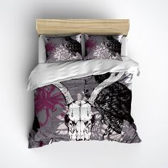 Buck Skull with Owl and Purple Flowers Duvet Bedding Sets