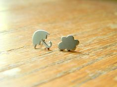 Silver Umbrella and Cloud Earrings