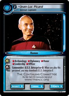 """""""• Jean-Luc Picard, Genial Captain"""" [0 VP 31]  (Alternate Print) from the STAR TREK CUSTOMIZABLE CARD GAME 2nd Edition by DECIPHER 