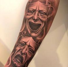 Chicano Tattoos Sleeve, Forarm Tattoos, Arm Sleeve Tattoos, Forearm Tattoo Men, Tattoo Sleeve Designs, Badass Tattoos, Tattoos For Guys, Cool Tattoos, Clown Tattoo