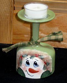 Snowman Tea Light Candle Holder, Vintage Glass, Handpainted
