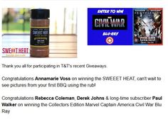 Tinsel & Tine Subscribers get Giveaway offers for foodie items and movies passes, DVD's and Blu-Ray contests run through Rafflecopter.