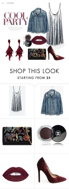 """""""Cool party"""" by amrinjo ❤ liked on Polyvore featuring Madewell, Yves Saint Laurent, Chanel, Steve Madden and Oscar de la Renta"""