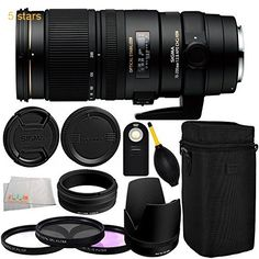 Sigma 70-200mm f/2.8 APO EX DG HSM OS FLD Large Aperture Telephoto Zoom Lens for Canon Digital DSLR Camera 11PC Accessory Kit. Includes Manufacturer Accessories  3PC Filter Kit (UV-CPL-FLD)  Wireless Remote  Dust Blower  Microfiber Cleaning Cloth