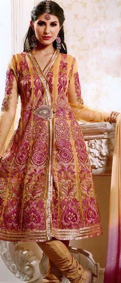 Dark Fawn Net Churidar Kameez @ $93.27 | Shop @ http://www.utsavfashion.com/store/sarees-large.aspx?icode=khs206