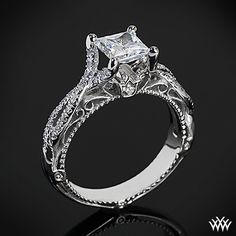 This Diamond Engagement Ring is from the Verragio Venetian Collection. It features of Round Brilliant Diamond Melee (F/G VS) that enhance a princess diamond center of your choice. diamond and jewelry consultants at Ring Set, Ring Verlobung, Diamond Rings, Diamond Engagement Rings, Gold Rings, Solitaire Rings, Wedding Engagement, Wedding Rings, Bling