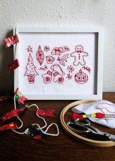 A few of my favorite things... Holiday embroidery pattern!  would be cute to put on the bottom of a tray with glass over it. (Make a picture frame tray.)