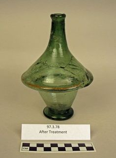 OBJECT NAME Biconal Bottle PLACE MADE Germany DIMENSIONS Overall H: 18.1 cm, Diam: 12.1 cm DATE 1400-1525
