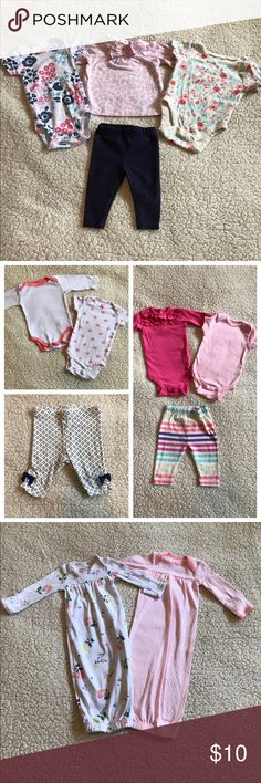 10 piece newborn bundle 2 short sleeve onesies, 2 long sleeve onesies, 2 pairs of pants, 2 gowns and the Burt's Bees outfit in last pic. Everything is newborn size except the gowns. Gowns are preemie and are perfect for baby's first few weeks home. Used, in good condition. One Pieces