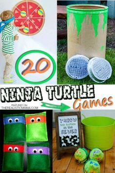 Ninja turtle games. Pin the turtle on the pizza, Ninja Turtle beanbag toss... lots of creative party ideas.