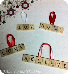 "DIY Scrabble Letter Ornaments - I'm putting this one under digital crafts because you can use the tiles ""as is"" or you can decorate them with images from scrabble tile sheets Scrabble Crafts, Scrabble Letters, Scrabble Ornaments Diy, Wooden Letters, Noel Christmas, All Things Christmas, Christmas Ornaments, Easy Ornaments, Homemade Ornaments"