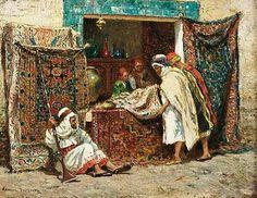 Algérie - Peintre Américain  Addison Thomas Millar (1860 –1913), huile sur toile , Titre : Marchand de tapis à Alger