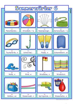 Diving Goggles, Picture Dictionary, Summer Activities For Kids, Kindergarten, Worksheets, Education, Pictures, Florian, Montessori