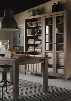 Add a HEMNES glass cabinet to your study space to achieve this Swedish Country look. The soft browns and earth tones of this room make for a warm and inviting home!