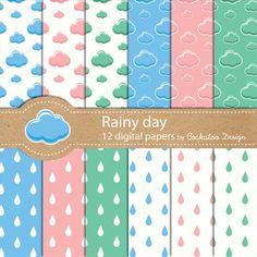 50% OFF SALE, Rain digital paper, rain drops digital paper, clouds digital paper, weather digital paper, Seamless Pattern, Commercial use